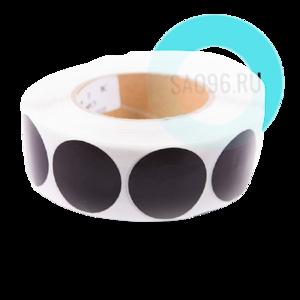 Этикетка защитная черная, круглая 30 мм, 40 мм